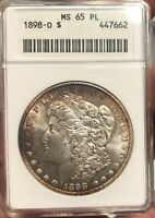 1898 O MORGAN DOLLAR MINT STATE 65 PL  OLD SMALL ANACS CERTIFIED TONED PROOFLIKE