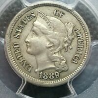 1889 PCGS & CAC  EXTRA FINE -45  3 THREE CENT PIECE    COIN  LOW MINTAGE