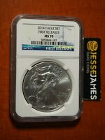 NGC MS70 SILVER EAGLE STRUCK AT WEST POINT FIRST RELEASES STAR LABEL 2014 W