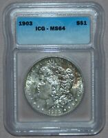 1903 MORGAN SILVER DOLLAR  ICG MINT STATE 64,  RAINBOW TONING