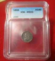 1832 SILVER HALF DIME ICG MINT STATE 63  FANTASTIC APPEARANCE                       MF-