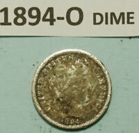 1894 O BARBER DIME US 90  SILVER COIN ALMOST GOOD DAMAGED CU