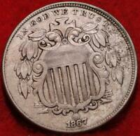 1867 PHILADELPHIA MINT SHIELD NICKEL