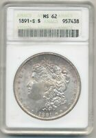 1891-S MORGAN DOLLAR ANACS MINT STATE 62 OH