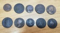 JOB LOT FARTHINGS & HALFPENNIES CHARLES I WILLIAM & MARY GEO