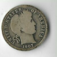 RARE 100 YEARS OLD 1907 US SILVER BARBER LIBERTY COLLECTION