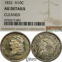 1832 H10C CAPPED BUST HALF DIME NGC AU DET. RAINBOW TONED  OLD TYPE COIN  J