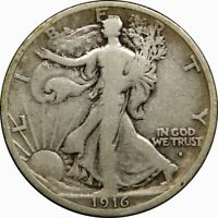 1916-S 50C WALKING LIBERTY HALF DOLLAR FINE  OLD TYPE SILVER COIN J