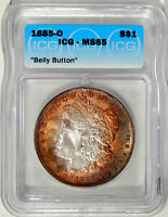 1885-O $1 ICG MINT STATE 65 BELLY BUTTON  NEAT GEM MORGAN DOLLAR VARIETY WITH COLOR