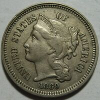1869 EXTRA FINE  THREE CENT PIECE,  DETAILS, SHIPS FREE