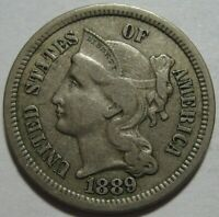 1889 EXTRA FINE  THREE CENT PIECE, LOW MINTAGE 21K, SUPER EYE APPEAL, SHIPS FREE