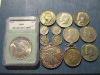 US SILVER COIN LOT COLLECTION PEACE DOLLAR 2004 EAGLE ETC.