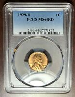 1929 D PCGS MINT STATE 64 RED LINCOLN CENT WHEAT CENT