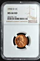 1950-D LINCOLN WHEAT CENT NGC MINT STATE 66 RED
