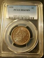 1850 BRAIDED HAIR LARGE CENT   PCGS MS65BN   ONLY 28 GRADE HIGHER
