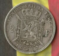 1867 BELGIUM 2 FRANCS  83.5  SILVER   FAIRLY NICE 150  YEAR OLD SILVER COIN