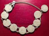 1887 UNITED STATES SILVER SEATED LIBERTY DIME LOVE TOKEN BRACELET