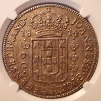 1814B BRAZIL SILVER 960 REIS COUNTERSTRUCK ON 8 REALES NGC AU53