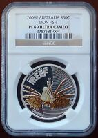 2009P AUSTRALIA SILVER 50 CENT COLORIZED LION FISH NGC PF 69 ULTRA CAMEO