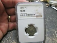 1876 SHIELD NICKEL IN NGC MINT STATE 62 UNCIRCULATED CONDITION