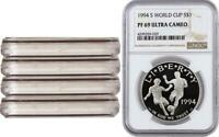4 COINS 1994 S WORLD CUP NGC PF69 PROOF COMMEMORATIVE SILVER