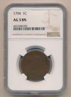 1794 FLOWING HAIR LARGE CENT. NGC AG3