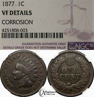 1877 1C INDIAN HEAD CENT NGC VF DETAILS RARE OLD TYPE COIN M