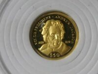 $50 REPUBLIC OF LIBERIA ANDREW JACKSON 14K GOLD COIN.
