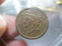 1849 HALF CENT COIN IN EXTRA FINE CONDITION