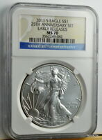 2011-S SILVER EAGLE BURNISHED 25TH ANNIVERSARY NGC MS-70 ER
