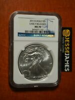 2013 $1 AMERICAN SILVER EAGLE NGC MS70 EARLY RELEASES BLUE LABEL