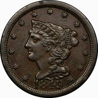 1849 1/2C BRAIDED HAIR HALF CENT XF  TO AU BETTER DATE RARE