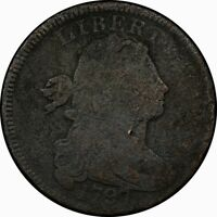 1797 1C DRAPED BUST LARGE CENT S 43B R.5 RARE OLD TYPE COIN