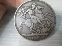 1889 GREAT BRITAIN QUEEN VICTORIA SILVER LARGE CROWN COIN