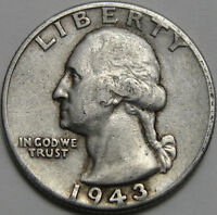 1943 25C WASHINGTON QUARTER 90  SILVER 12726