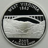 2005 S 25C WEST VIRGINIA SILVER STATE QUARTER PROOF UNC 90  SILVER 13674