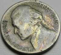 1945 S 5C JEFFERSON NICKEL TONED WAR NICKEL SILVER 10187