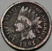 1891 1C INDIAN CENT IHC INDIAN HEAD PENNY COPPER 13828