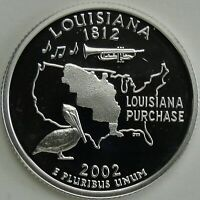2002 S 25C LOUISIANA SILVER STATE QUARTER PROOF UNC 90  SILVER 13607