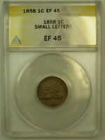 1858 FLYING EAGLE CENT 1C ANACS EF 45  XF 45  SMALL LETTERS