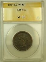 1854 BRAIDED HAIR LARGE CENT L1C ANACS VF 30 NICE CHOCOLATE BROWN COLOR