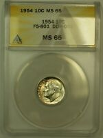 1954 ROOSEVELT SILVER DIME ANACS MS 65 DDR FS 801  TONED