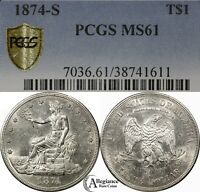 1874 S T$1 TRADE SILVER DOLLAR PCGS MS61 RARE OLD TYPE COIN