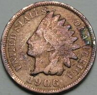 1906 1C INDIAN CENT TONED IHC INDIAN HEAD PENNY COPPER 13876