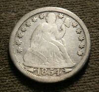 1854-O NEW ORLEANS MINT SILVER SEATED LIBERTY DIME WITH ARROWS FULL LIBERTY