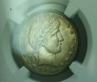 1902 BARBER SILVER QUARTER 25C NGC MS 62 RAINBOW TARGET TONED TONING  MS 63 IMO
