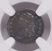 1829 CAPPED BUST SILVER HALF DIME H10C NGC MS 62 SATINY LUSTER DARK PURPLE TONED