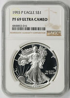 1993-P AMERICAN SILVER EAGLE $1 PROOF PF 69 ULTRA CAMEO NGC