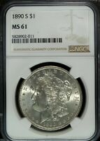 1890 S NGC MINT STATE 61 MORGAN SILVER DOLLAR  GREAT FOR SETS  011