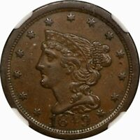 1849 1/2C BRAIDED HAIR HALF CENT NGC AU50 C-1  OLD TYPE COIN